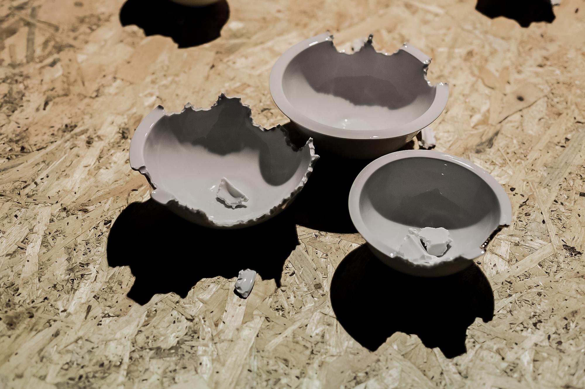 Karina Marusińska, Ogryzki, obiekty, porcelana, złoto, 2008
