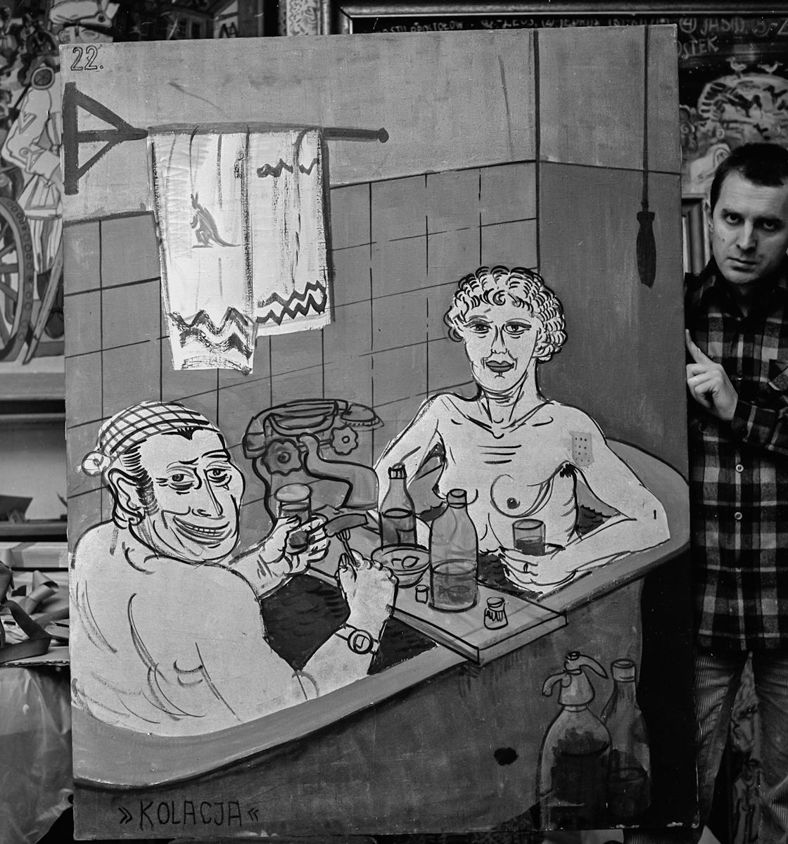 Edward Dwurnik, portret zobrazem Kolacja zcyklu Sportowcy, 1972, fot.Teresa Gierzyńska