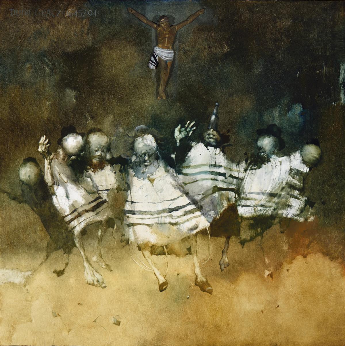 Jerzy Duda-Gracz, Obraz 1645 / Taniec ekumeniczny AD. 2000, 1994, olej napłycie pilśniowej, 80 × 80 cm; dzięki uprzejmości CSW Znaki Czasu wToruniu