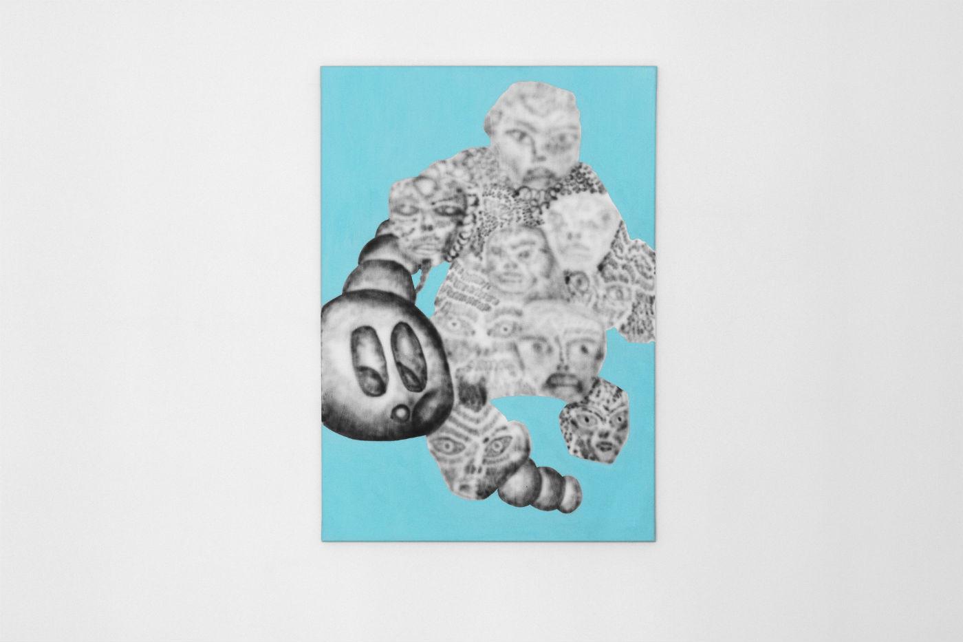 Stach Szumski, beztytułu, akryl iaerograf napłótnie, 100 x 70 cm, 2016