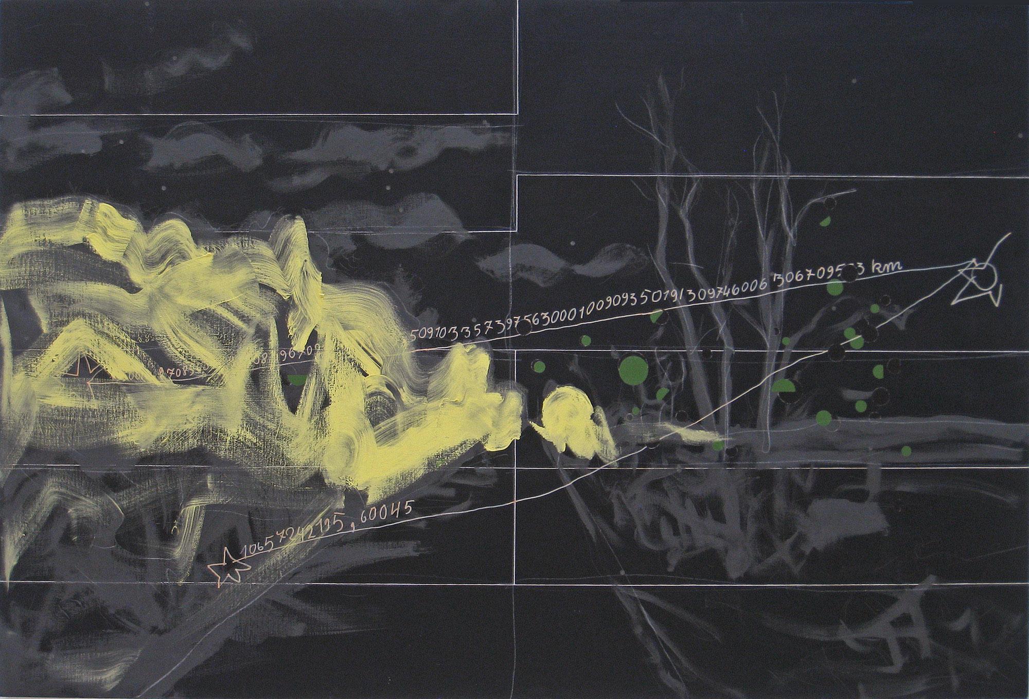 Włodzimierz Jan Zakrzewski, Rysunek dziecka, 1996, mixed-media, 137 x 203 cm, kolekcja prywatna, Poznań, depozyt wMuzeum Narodowym wPoznaniu