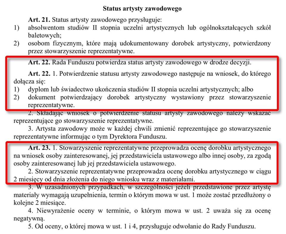 """""""Status artysty zawodowego"""" iNarodowy Fundusz Artystów (aktualizacje)"""